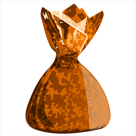 wrapper: sweet chocolate candy with the wrapper on white background