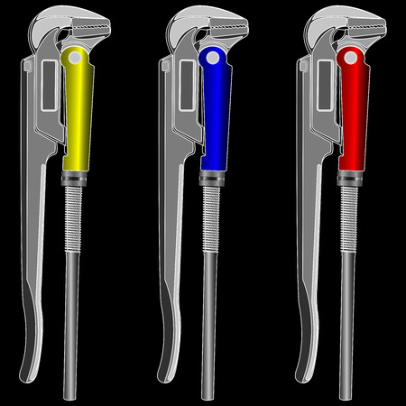 adjustable: adjustable gas keys for plumbing on a black background vector