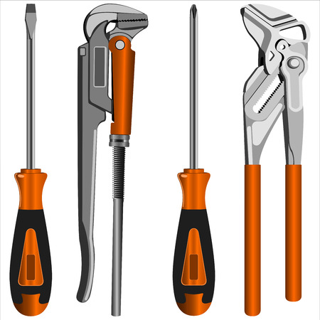 adjustable: adjustable gas keys and a screwdriver with different bits on a white background vector