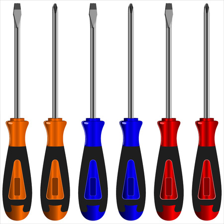 bits: screwdriver with different bits on a white background vector