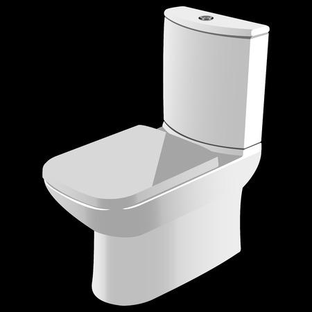 watercloset: pure white ceramic toilet on black background vector