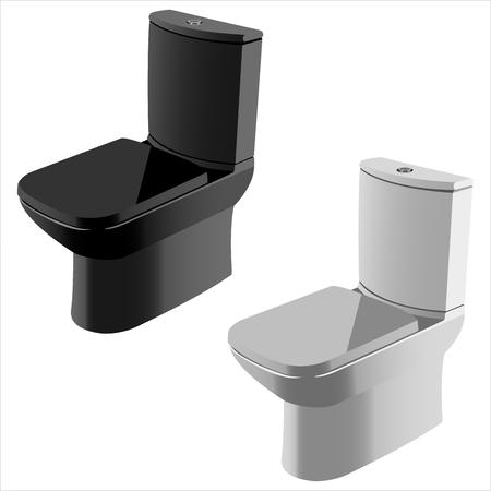 watercloset: dark and light ceramic toilet on white background vector Illustration