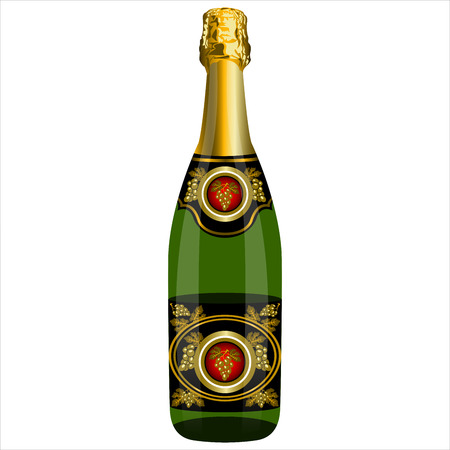 unopened: an unopened bottle of champagne on a white background