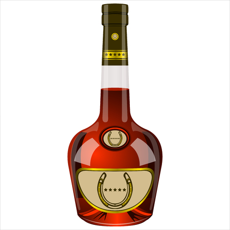 expensive food: an unopened bottle of cognac five stars on a white background