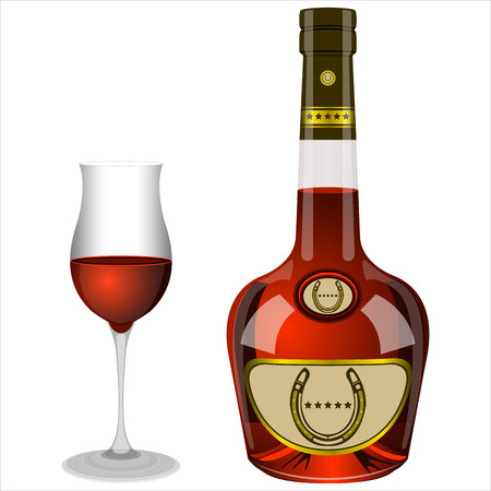 brandy: bottle and glass of brandy on white background