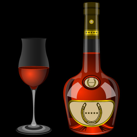 brandy: bottle and two glasses of brandy on a black background