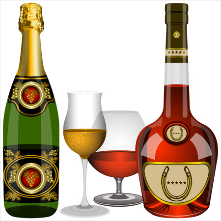 brandy: two glasses and a bottle of champagne and of brandy on a white background  Illustration