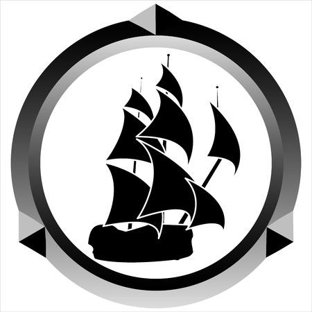 brig: icon pirate sailing ship on white background Illustration