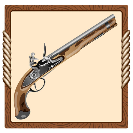 antique pistols: icon old pirate flintlock pistol on a white background Illustration
