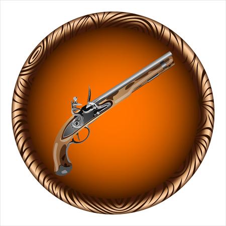 flintlock pistol: icon old pirate flintlock pistol on a white background Illustration