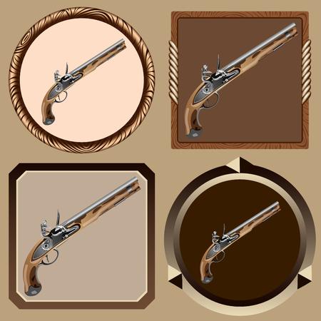 flint gun: icons old pirate flintlock pistol on a dark background