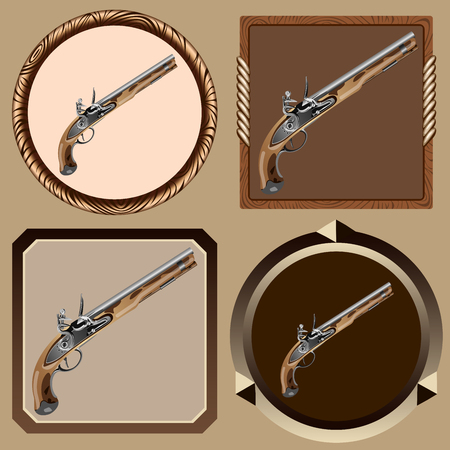 flintlock pistol: icons old pirate flintlock pistol on a dark background