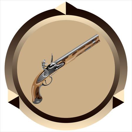 calavera caricatura: icono vieja pistola de chispa pirata en un fondo blanco