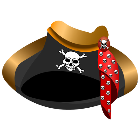 period costume: black pirate Tricolor hat with skull on white background