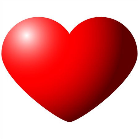 big red heart Valentines Day isolated on white background