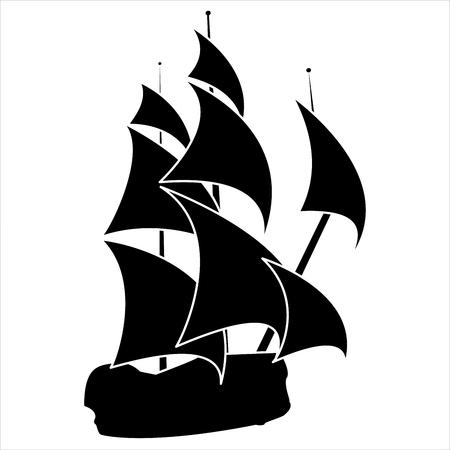 白い背景の帆船の黒いシルエット