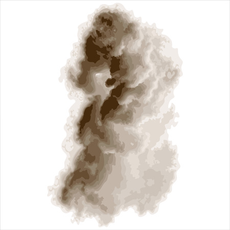 abstract dense smoke isolated on white background
