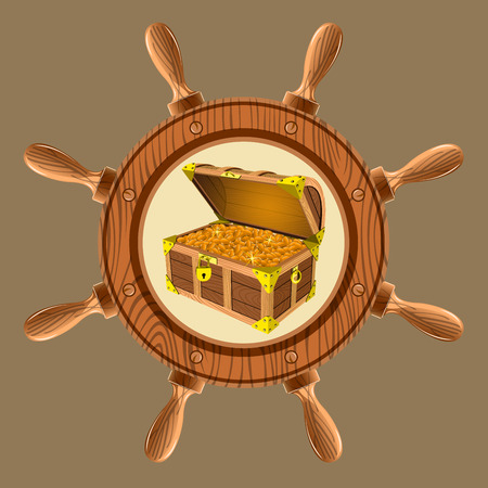 icon in the form of a steering wheel of a pirate chest of gold coins on a white background vector