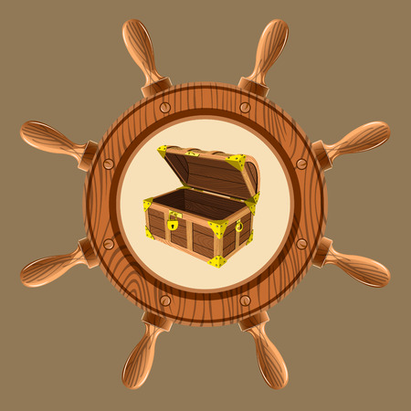 hoard: icon empty pirate chest in the form of a wheel on a white background vector