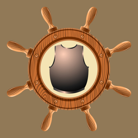 armour plating: icon old pirate cuirass on white background vector