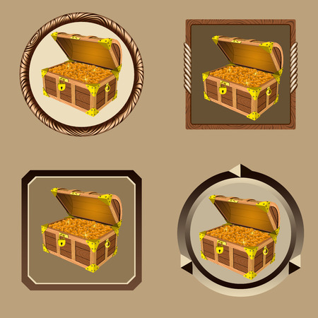 booty: icons pirate chest with golden coins isolated on white background vector Illustration