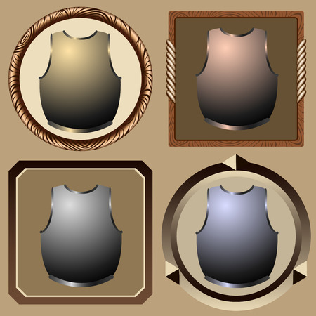 icons old pirate cuirass on white background vector