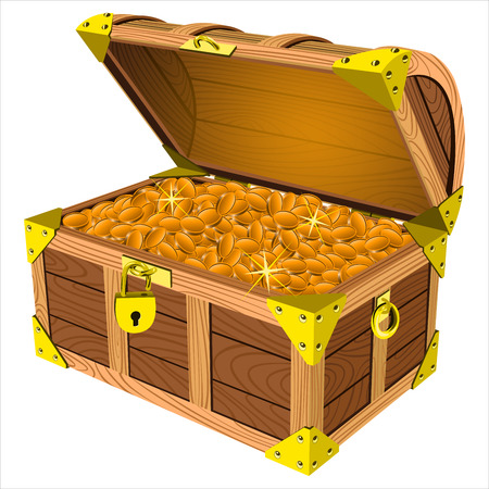hoard: pirate a treasure chest of gold coins on a white background vector