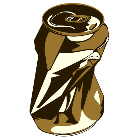 crumpled tin can from under the drink on white background vector