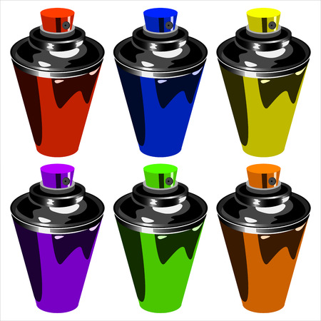 multi-colored cans to paint graffiti on a white background vector