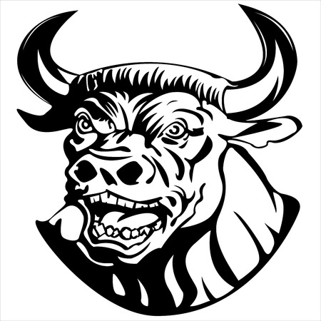the menacing muzzle of a Minotaur on white background vector