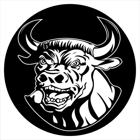 round icon angry Minotaur on white background vector
