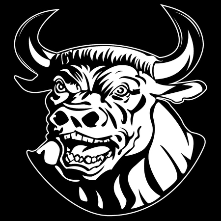 the menacing muzzle of a Minotaur on black background vector Vettoriali