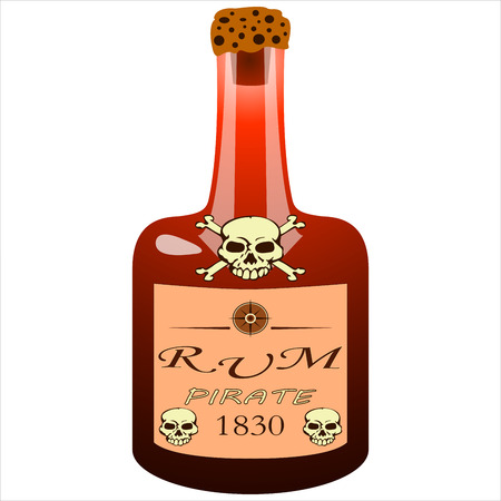 glass bottle pirate rum on white background vector