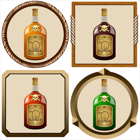 icons with glass bottles of pirate rum vector