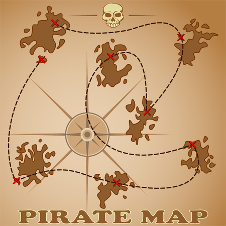 buried: old pirate map showing locations of buried treasures