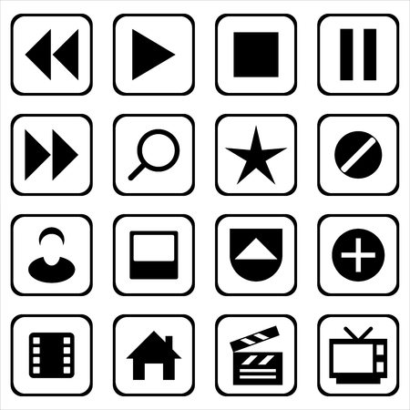 vector set of sixteen multimedia icons for digital interfaces