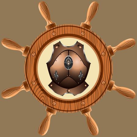 wheel guard: icon old pirate cuirass on white background vector