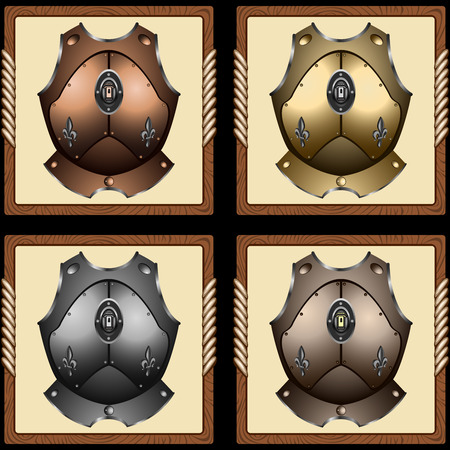 armour plating: icons old pirate cuirass on white background vector
