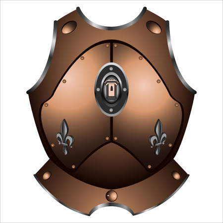 plating: old iron cuirass of the pirate on white background vector Illustration