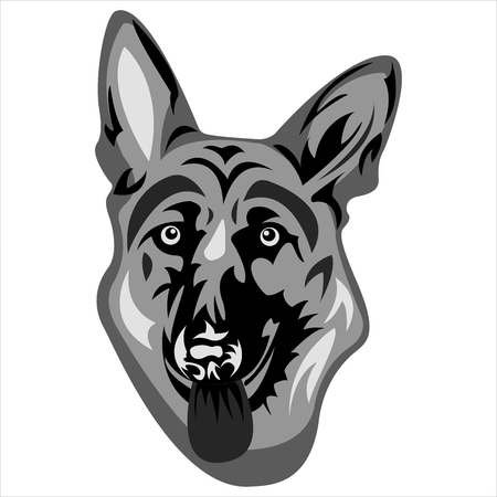 the logo with the face of a German shepherd on a white background vector