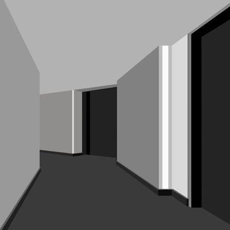interior corridor office space in shades of gray Illustration