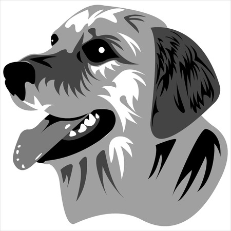 the logo depicting the face of a dog on a white background vector Çizim