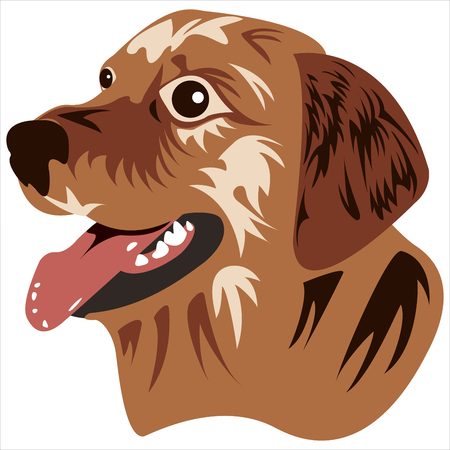 the logo depicting the face of a dog on a white background vector Vettoriali