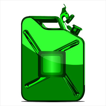 iron canister for fuel on white background vector