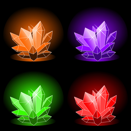 glowing magical crystals on a black background vector