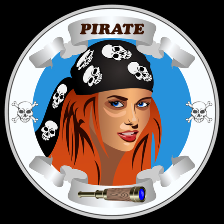 round icon with the girl pirates on the black background vector Vettoriali