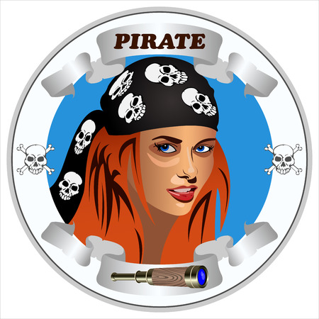 round icon with the girl pirates on the white background vector Çizim