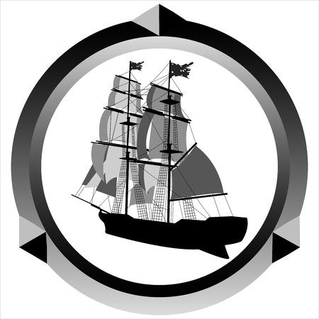 白い背景の帆船アイコン海賊