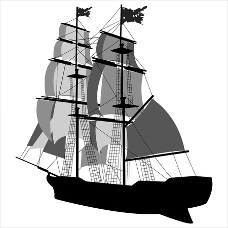black silhouette of sailing ship on white background 向量圖像