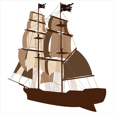 brig: brown silhouette of sailing ship on white background Illustration